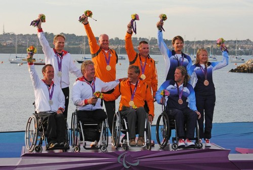 Sonar medalists - Day 5 of the 2012 Paralympics at Portland  © David Staley - IFDS