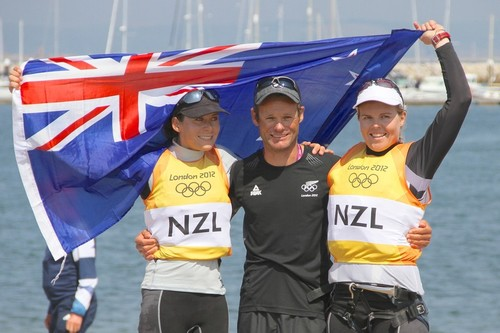 Weymouth, England - Jo Aleh and Olivia Powrie with coach Nathan Handley  after their Gold Medal win © Richard Gladwell www.photosport.co.nz