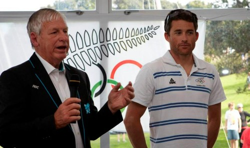 2012 Olympic windsurfer representative JP Tobin with Club President and double Olympian, Ralph Roberts (left) speaking at the Takapuna Boating Club's function to honour its Olympic competitors in Sailing and Kayaking © SW
