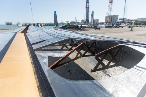 Team Korea wing damages after capsize © ACEA - Photo Gilles Martin-Raget http://photo.americascup.com/