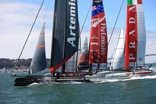 Three of the Challengers for the 34th America's Cup World Series San Francisco  © ACEA - Photo Gilles Martin-Raget http://photo.americascup.com/