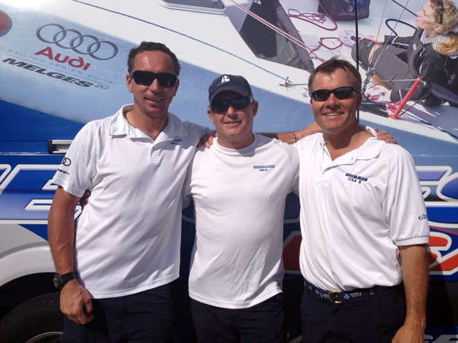 2013 Audi Melges 20 Miami Winter Series Event No 1 Champion - Russ Lucas (center), Federico Michetti (left) and Harry Melges III (right) © 2012 JOY | International Audi Melges 20 Class Association - copyright http://melges20.com/