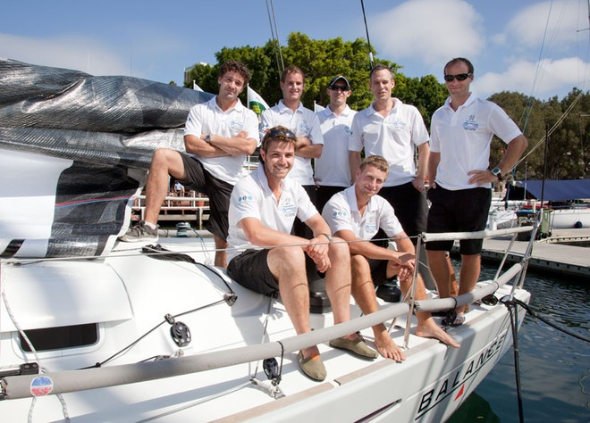 The crew from Peugeot Surfrider after a training session. - Rolex Sydney Hobart Yacht Race ©  Alex McKinnon Photography http://www.alexmckinnonphotography.com