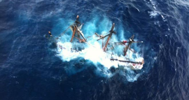 Rescue Bounty - went sailing into the edge of a hurricane ©  SW