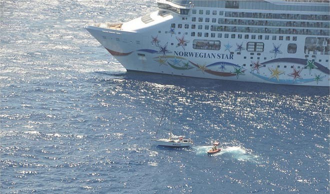 Rescue Empress III - yet another rescue because of the efficiency of the AMVER rescue system ©  SW