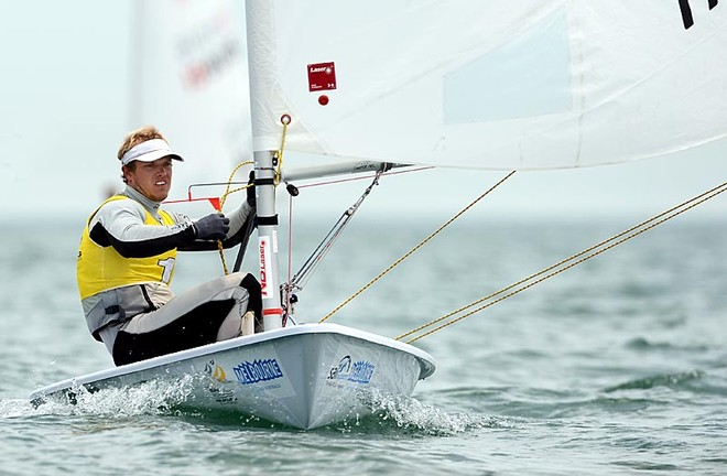 Tom Burton leads the Laser fleet at Sail Melbourne © Rob Cruse