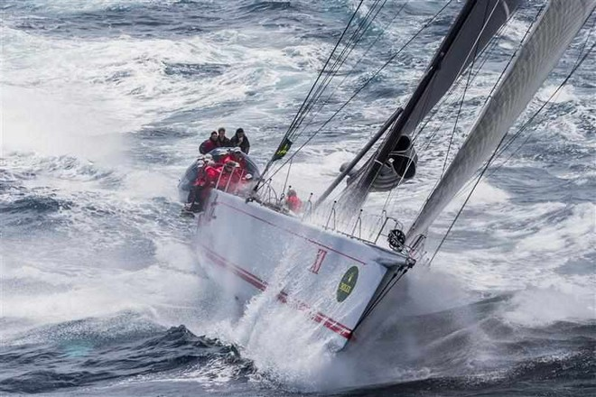 Wild Oats XI punches south shortly after leaving Sydney Harbour © ROLEX-Carlo Borlenghi