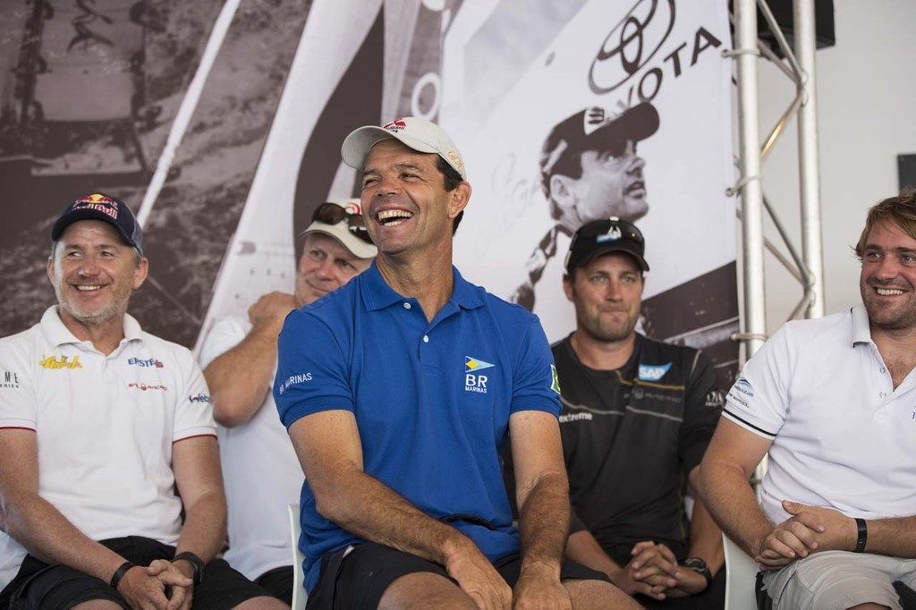 Skipper of Team Brasil, Torben Grael, shares a laugh with some of the other Extreme 40 skippers at the official event press conference. - 2012 Extreme Sailing Series - Act 8 Rio © Lloyd Images http://lloydimagesgallery.photoshelter.com/