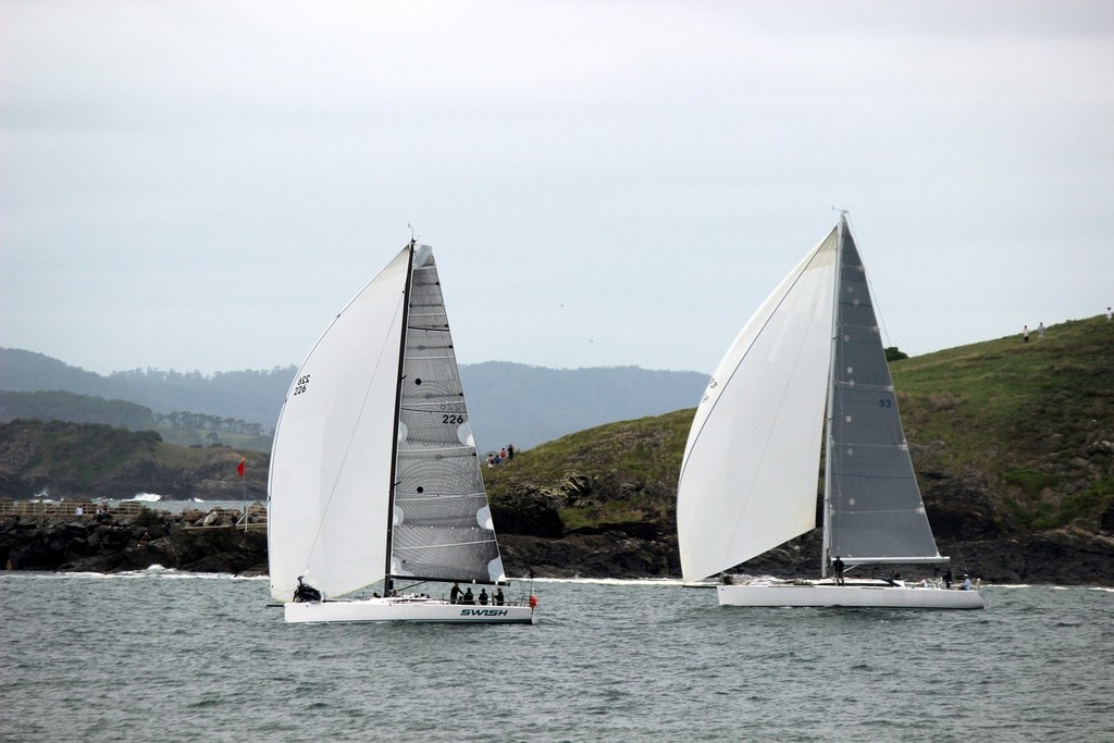 The finish distance as Swish nudged in front to take the third place on the podium  - 2013 Club Marine Pittwater & Coffs Harbour Regatta © Damian Devine
