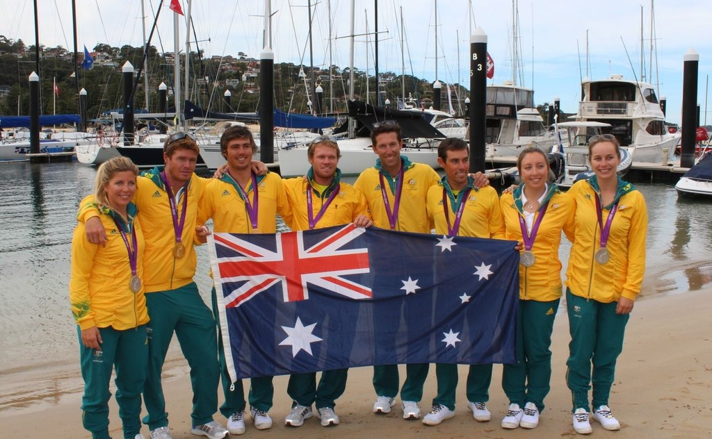Australia's sailing medallists at the National Training Centre following London 2012 © Michelle Kearney