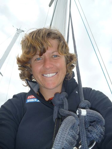 Lisa Blair up the mast during Clipper training © Clipper Ventures PLC . http://www.clipperroundtheworld.com