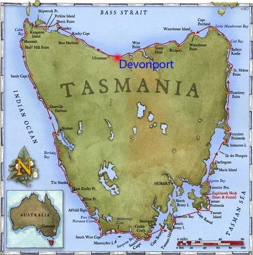 Route around Tasmania starting in Devonport ©  SW