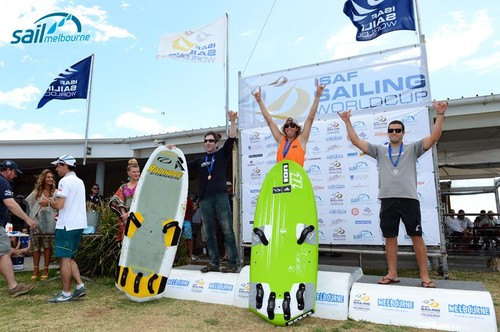 Kiteboard podium at Sail Melbourne - (L-R) Adam Vance (Can)3rd; <br /> Florian Gruber (GER) 1st; Torrin Bright (NZ) 2nd <br /> Oceania Leg of the ISAF Sailing World Cup 2012 Sandringham Yacht Club, Victoria Australia<br /> December 2nd - 8th, 2012  <br />  &copy; Jeff Crow/ Sport the Library http://www.sportlibrary.com.au