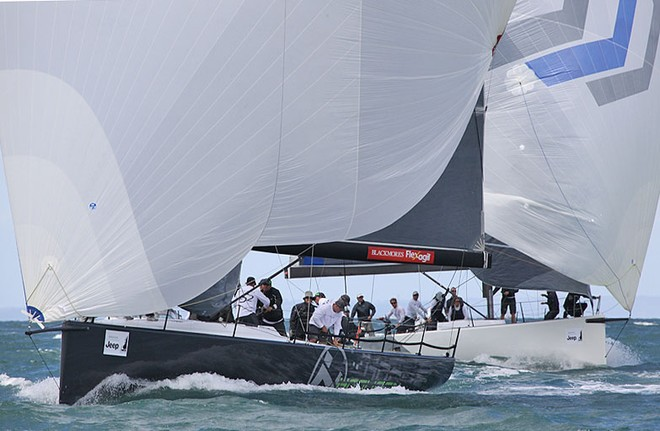 Hooligan and Calm 2 approach the bottom mark together. - TP52 Southern Cross Cup ©  John Curnow