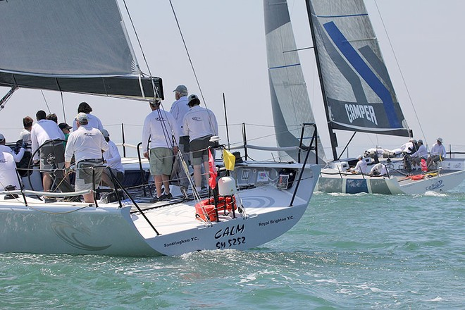 Calm to leeward of her newer sister, Calm 2. - TP52 Southern Cross Cup ©  John Curnow