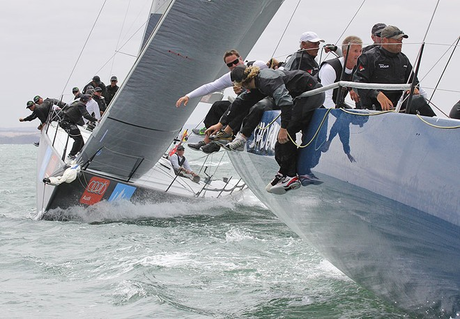 All available weight on the rail until the last moment with Shogun V leading Hooligan into the top mark. - TP52 Southern Cross Cup ©  John Curnow