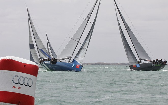 Shogun V takes Hooligan then Calm 2 and Calm in to the top mark. - TP52 Southern Cross Cup ©  John Curnow