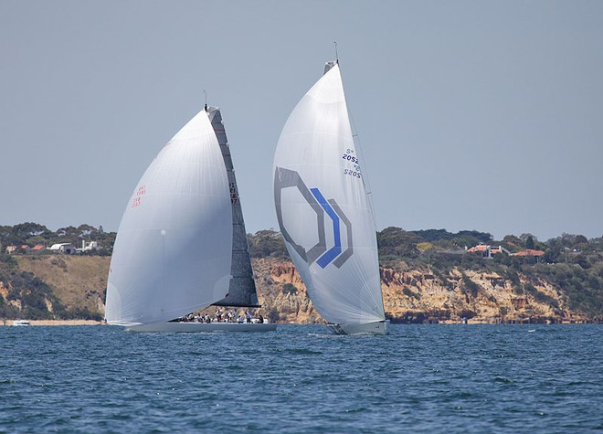 Beau Geste and Calm 2 with Red Bluff in the background. - TP52 Southern Cross Cup ©  John Curnow