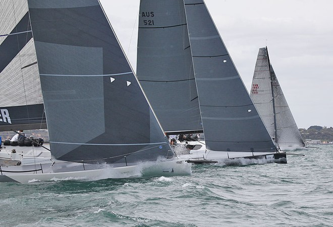 Calm 2, Hooligan and Beau Geste all bury the bow on the way uphill. - TP52 Southern Cross Cup ©  John Curnow