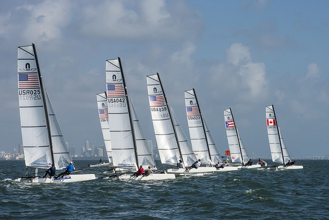 Nacra 17 fleet during the ISAF Sailing World Cup Miami 2013  © US Sailing http://www.ussailing.org