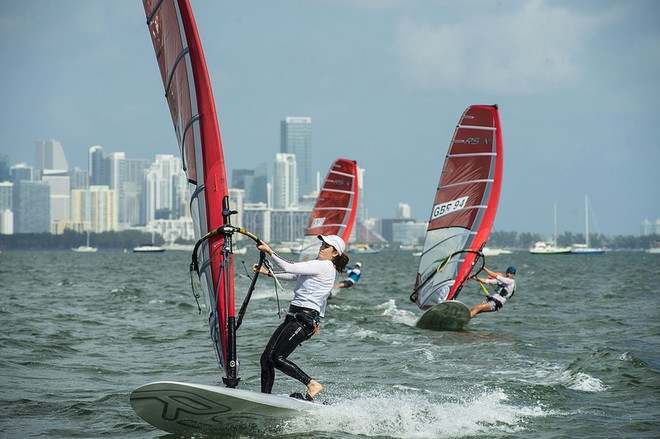 ISAF Sailing World Cup , Miami <br /> Division: Women's RSX (15 boats) Sail Number: ISR 10 Davidovich, Maayan &copy; US Sailing http://www.ussailing.org