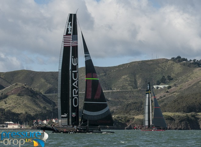 Artemis Racing and Oracle Team USA - San Francisco - February 8, 2013 © Erik Simonson www.pressure-drop.us http://www.pressure-drop.us