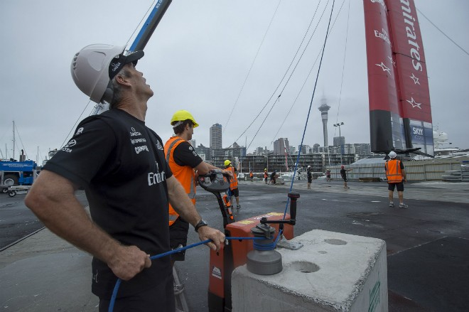 Emirates Team New Zealand use  several electrically powered tugs, carrying a substantial anchor weight to anchor and control the wingsail during the lift and launch process © Emirates Team New Zealand / Photo Chris Cameron ETNZ