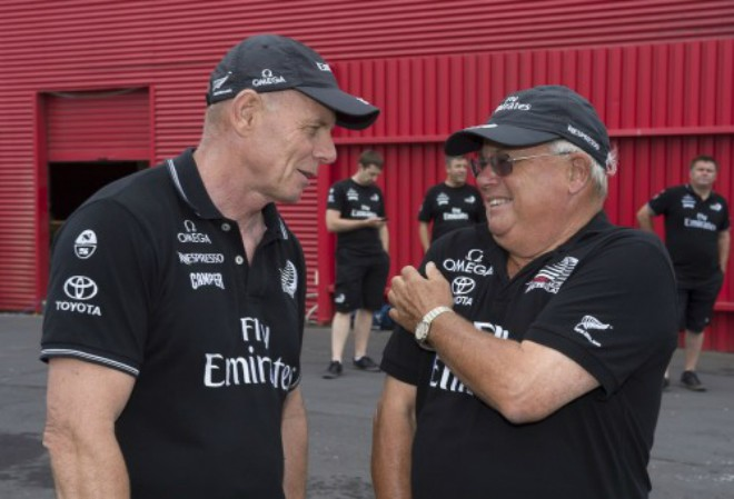 Grant Dalton and Gary Paykel at the naming ceremony of Emirates Team New Zealands second AC72. © Emirates Team New Zealand / Photo Chris Cameron ETNZ