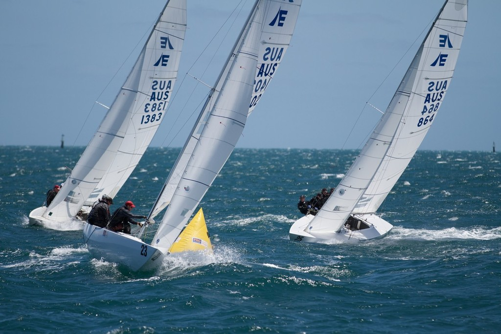 The Croc (Manford) shows the way to Triad (Bertrand) and Gen XY (Chew) - Prochoice Safety Gear Etchells Nationals © Ron Jensen