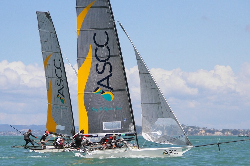 Double trouble - ASCC 1 & 2 - 18ft Skiffs, Auckland January 13, 2013 © Richard Gladwell www.photosport.co.nz