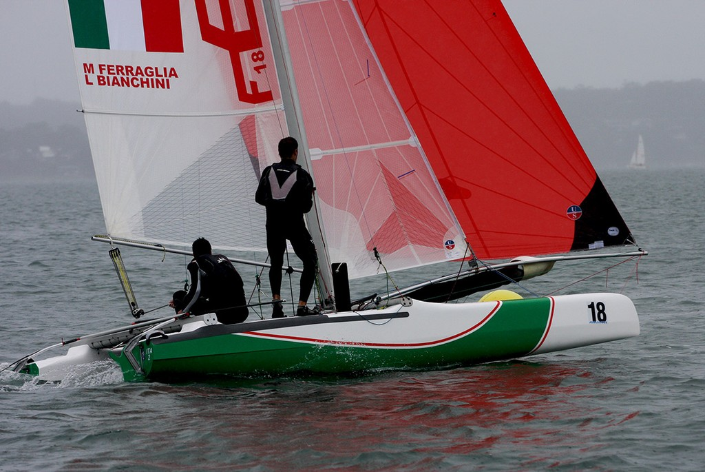 Sailing a Windrush Edge, Matteo Ferraglia and Lorenzo Bianchini had two 2nds - Australian Formula 18 National Championships © Mark Rothfield