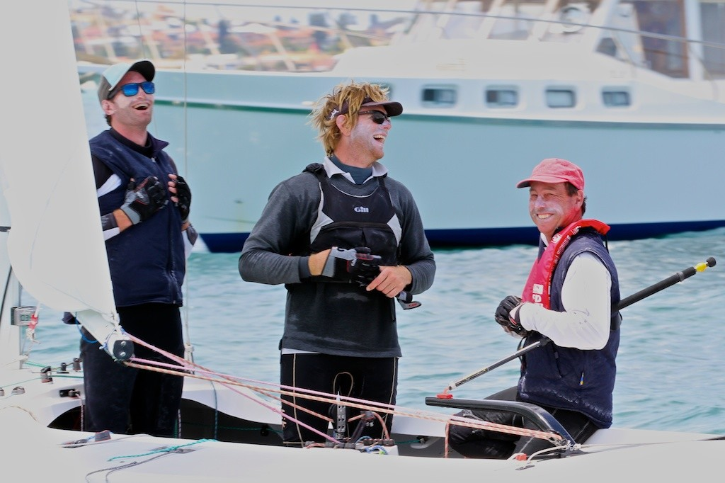 A very happy crew after their win - David Castles, Luke Payne and Peter Chappell. - Prochoice Safety Gear Etchells Nationals © Ron Jensen