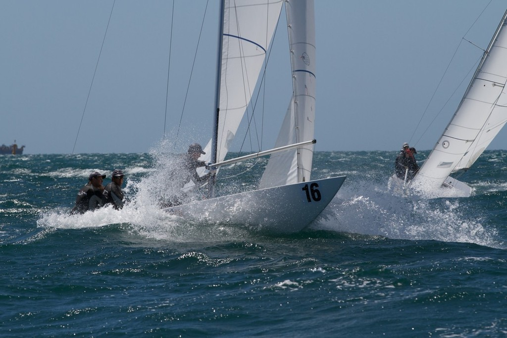 Chilli Plumb setting up for the downwind leg - Prochoice Safety Gear Etchells Nationals © Ron Jensen