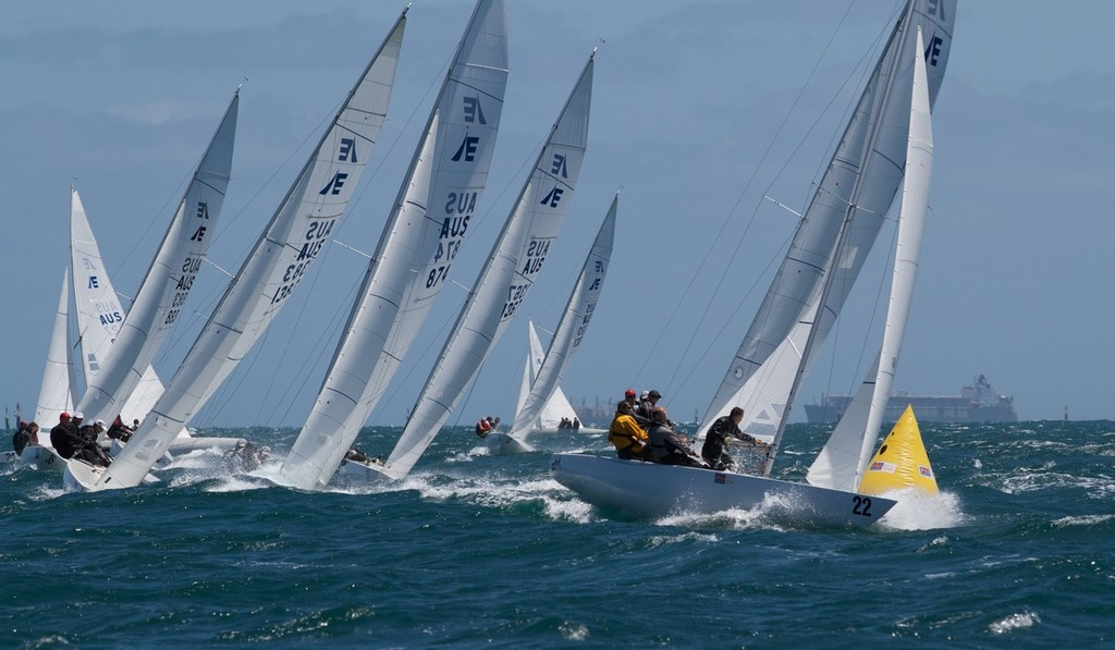 Racer X round the top mark clear of Tango, Chilli Plumb and Triad - Prochoice Safety Gear Etchells Nationals © Ron Jensen