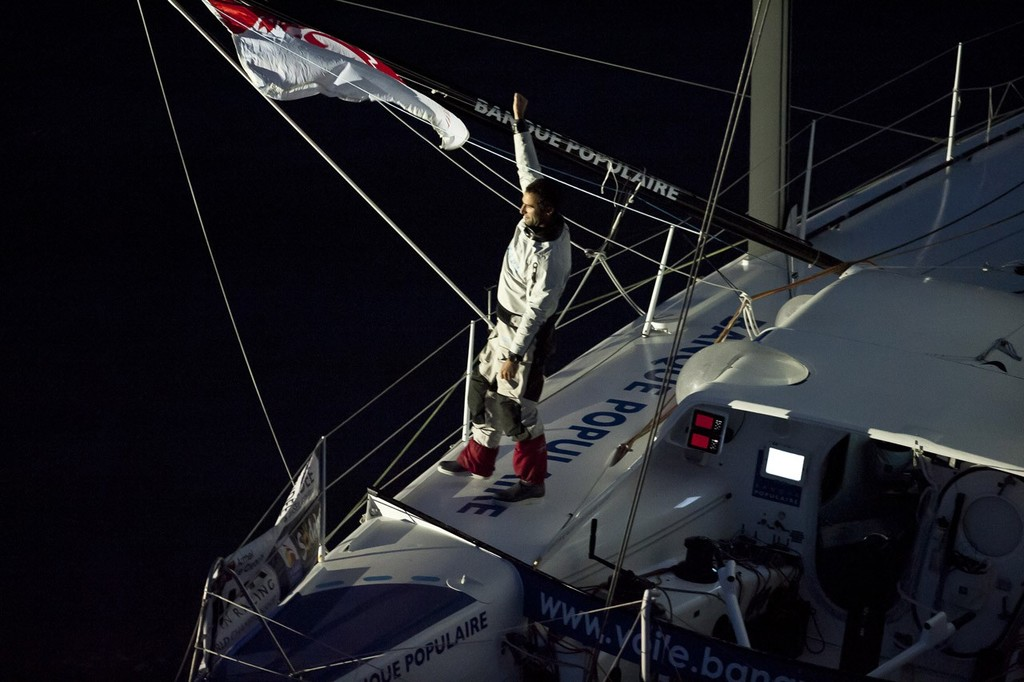 Vendee Globe finish for Armel Le Cleac'h (FRA) / Banque Populaire<br /> <br /> After 78D 05H 33MN 52SEC - 2nd Place &copy; Olivier Blanchet www.oceanracing.org