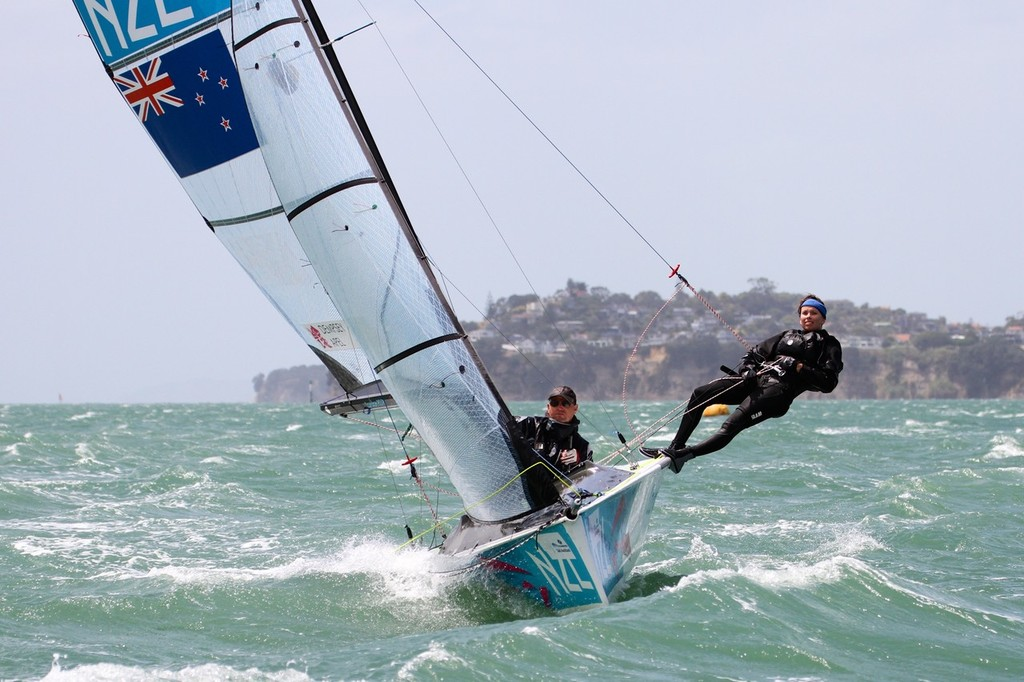SKUD18 in 30kts and white water - Day 4, Oceanbridge Sail Auckland 2013 © Richard Gladwell www.photosport.co.nz