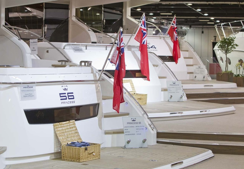 The Princess Yachts display at the Tullett Prebon London Boat Show, ExCeL, London. © onEdition http://www.onEdition.com