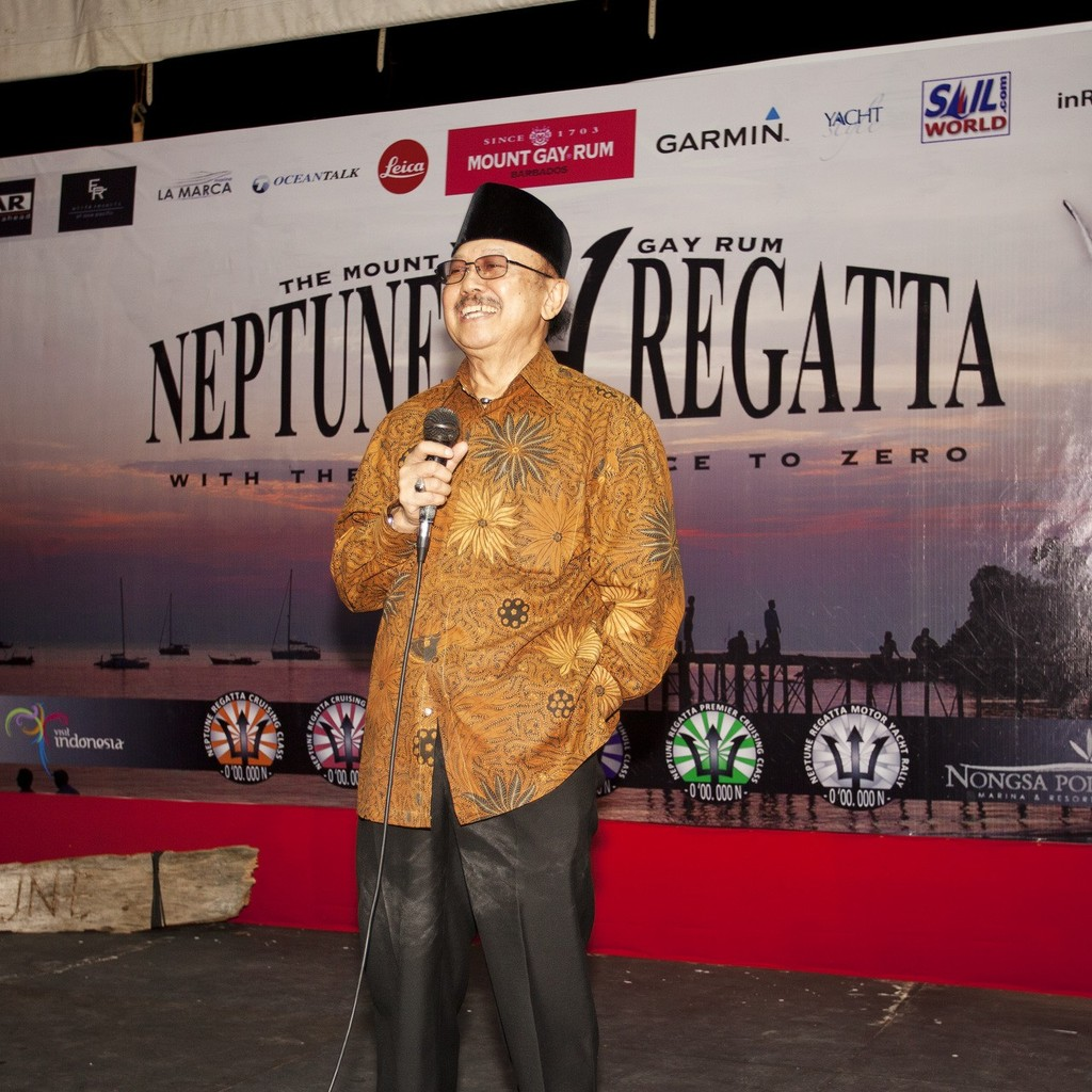 Mt Gay Rum 2013 Neptune Regatta, Closing Party. The Indonesian Marine Tourism Minister. © Guy Nowell http://www.guynowell.com