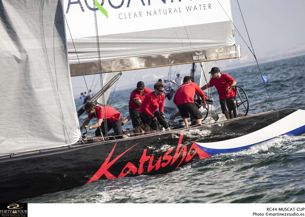 Andy Horton at the helm of Katusha - 2013 RC44 Oman Cup © RC44 Class/MartinezStudio.es