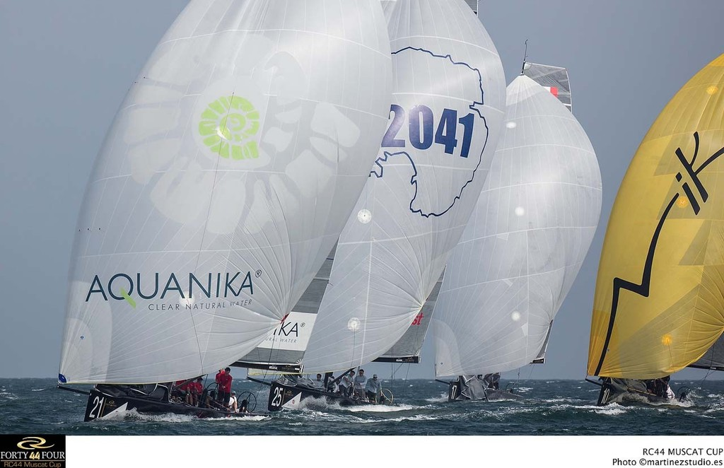 Katusha leading the fleet downwind - 2013 RC44 Oman Cup © RC44 Class/MartinezStudio.es