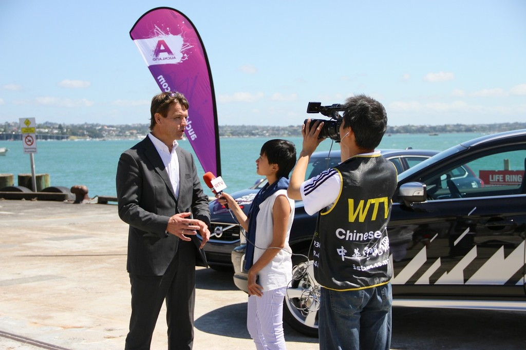 Knut Frostad is interviewed by a local Chinese TV crew at this morning's announcement of Auckland as a two-edition stopover for the Volvo Ocean Race © Richard Gladwell www.photosport.co.nz