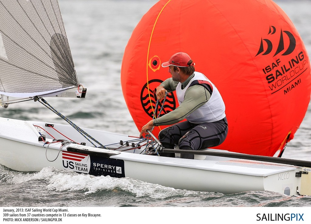 Caleb Paine in action at the ISAF Sailing World Cup Miami 2013  © US Sailing http://www.ussailing.org