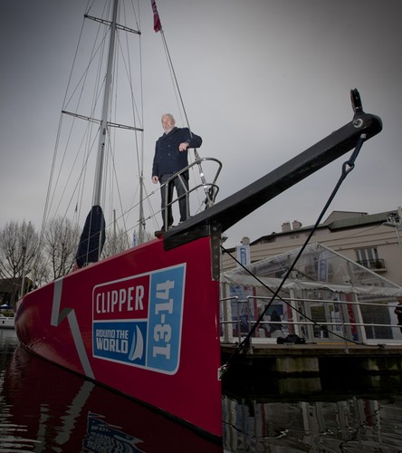Sir Robin Knox-Johnston onboard one of the new Clipper 70 fleet of yachts in St Katherine's Dock London © onEdition http://www.onEdition.com