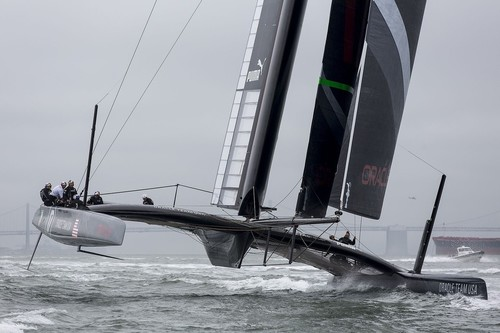 Oracle Team USA showing platform twist, with the windward hull being pulled up at its after end by the force from the sidestay. Her approach to cleaning up under platform structure drag is clearly visible. © Guilain Grenier Oracle Team USA http://www.oracleteamusamedia.com/