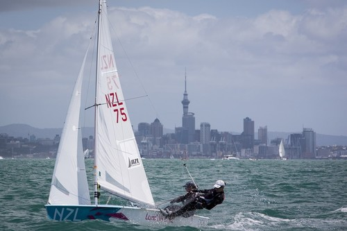 Jo Aleh and Olivia Powrie in their 470 at Oceanbridge Sail Auckland 2013. Auckland, New Zealand, 2 February 2013.  © Gareth Cooke - Subzero Images http://www.subzeroimages.com