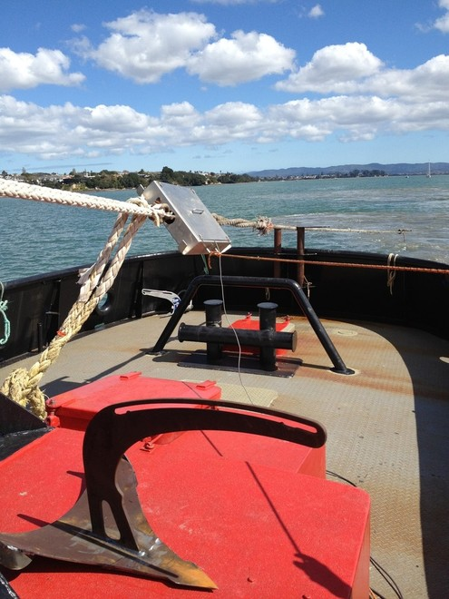 The new Manson Boss being tested on Auckland harbour, the tests were stopped after the 15.7kg anchor held an almost 10 tonne load. © SW