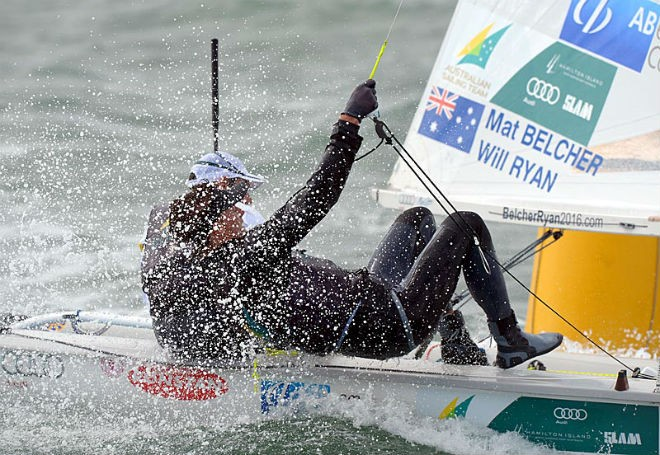 Mathew Belcher and Will Ryan racing at Sail Melbourne  © Jeff Crow/Sail Melbourne http://www.sportlibrary.com.au
