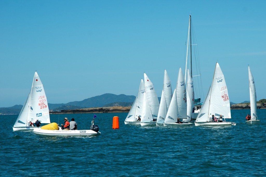 Gareth Moore and Vicky Francis port tack the fleet. - NZ 470 Nationals © Christine Hansen