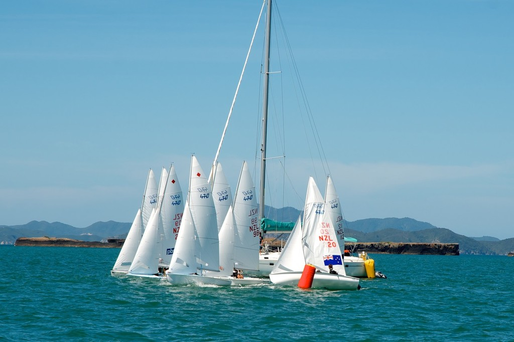 Starts were a challenge for all sailors on a short start line. - NZ 470 Nationals © Christine Hansen