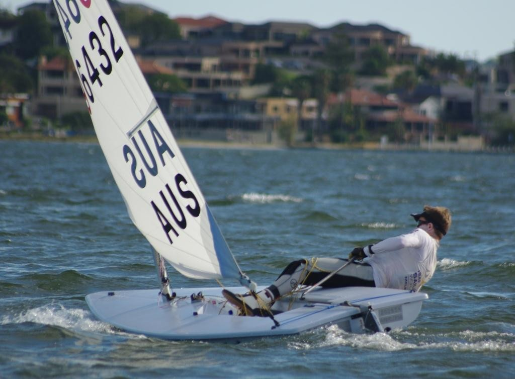 World Laser Radial Champion Tristan Brown will be a strong challenger in the Radial fleet. - 2013 WA State Laser Championships © Brad Utting